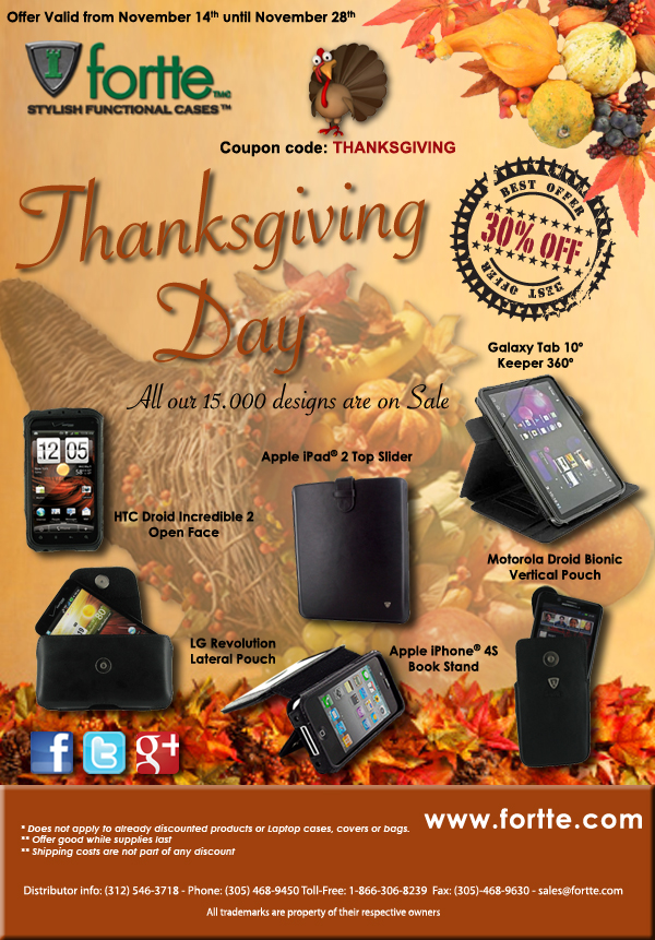 Thanksgiving Sale 2011 at www.fortte.com